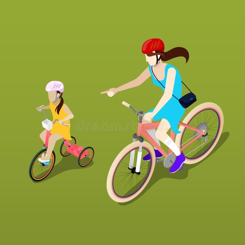 Personnes isométriques Bicyclette isométrique Cycliste de mère et de fille illustration libre de droits