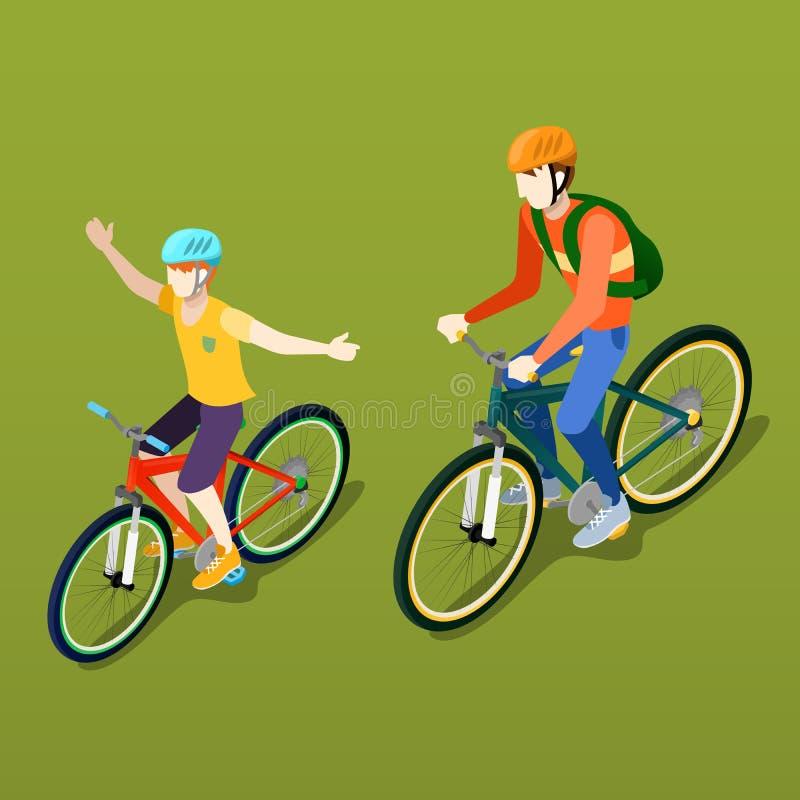 Personnes isométriques Bicyclette isométrique Cycliste de père et de fils illustration stock