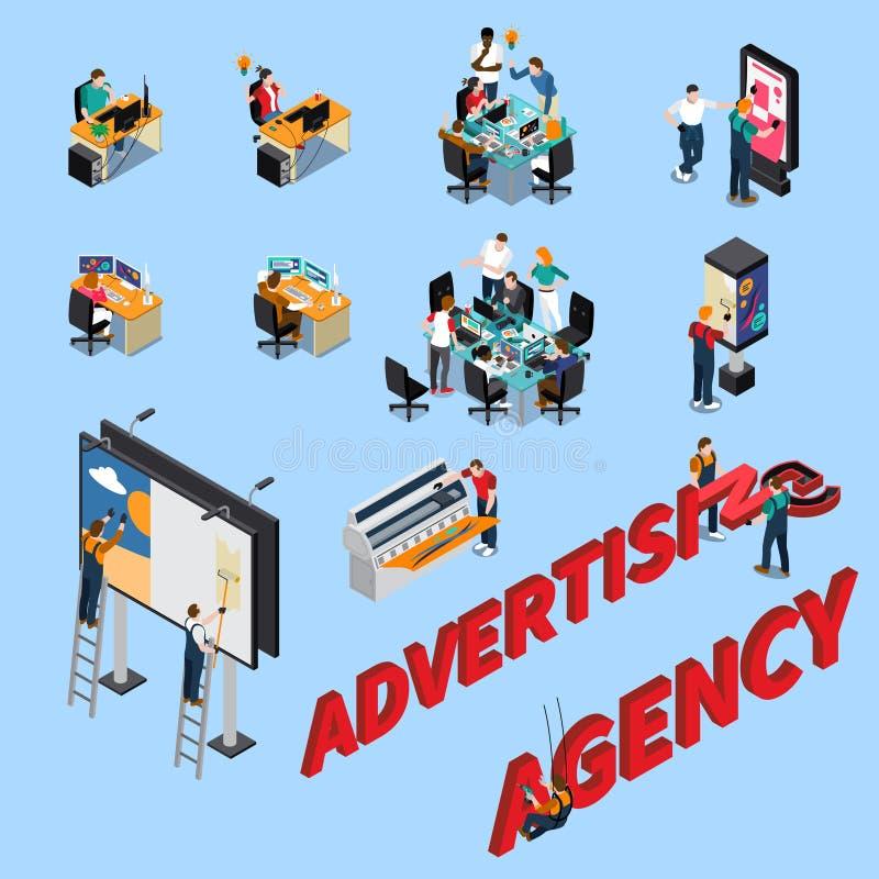 Personnes isométriques d'agence de publicité illustration libre de droits