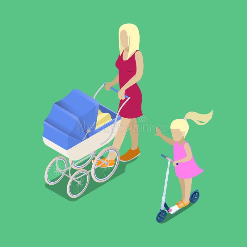 Personnes isométriques Jeune mère avec la voiture d'enfant illustration stock