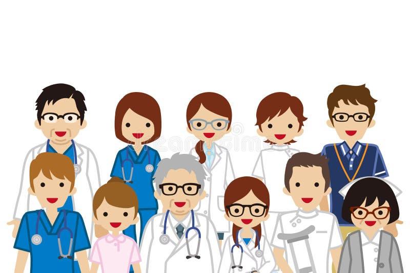 Personnes médicales se réunissantes de profession, taille  illustration libre de droits