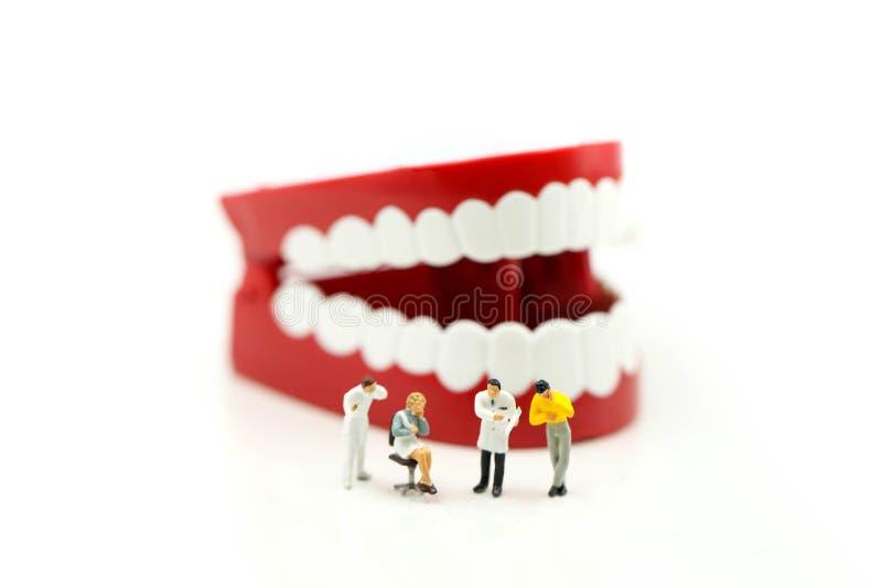 Personnes miniatures : Dentiste dents de examen du ` un s de patient, healthcar images stock