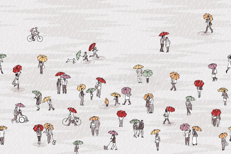 Personnes minuscules avec les parapluies colorés illustration stock