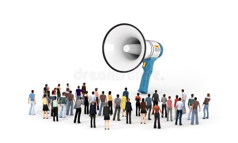 Personnes minuscules se tenant autour d'un grand mégaphone 3d illustration stock