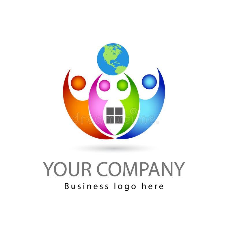 Personnes multi de la couleur quatre de travail d'équipe ensemble à l'arrière-plan blanc avec le logo de vecteur de globe illustration de vecteur