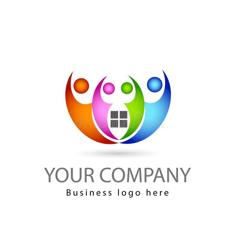 Personnes multi de la couleur quatre de travail d'équipe ensemble à l'arrière-plan blanc avec le logo vert de vecteur de bordure  illustration stock