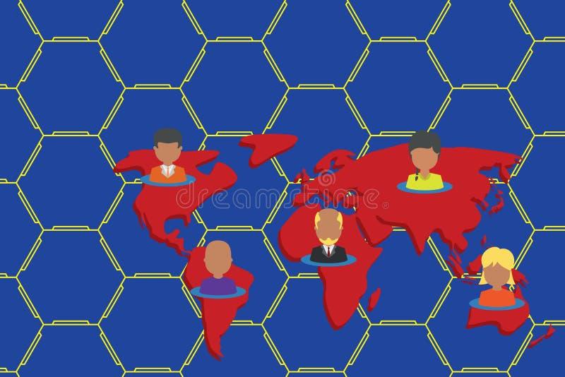 Personnes multi-ethniques de collage sur la carte du monde Les diff?rents portraits de personne de collection ont plac? cinq cont illustration stock