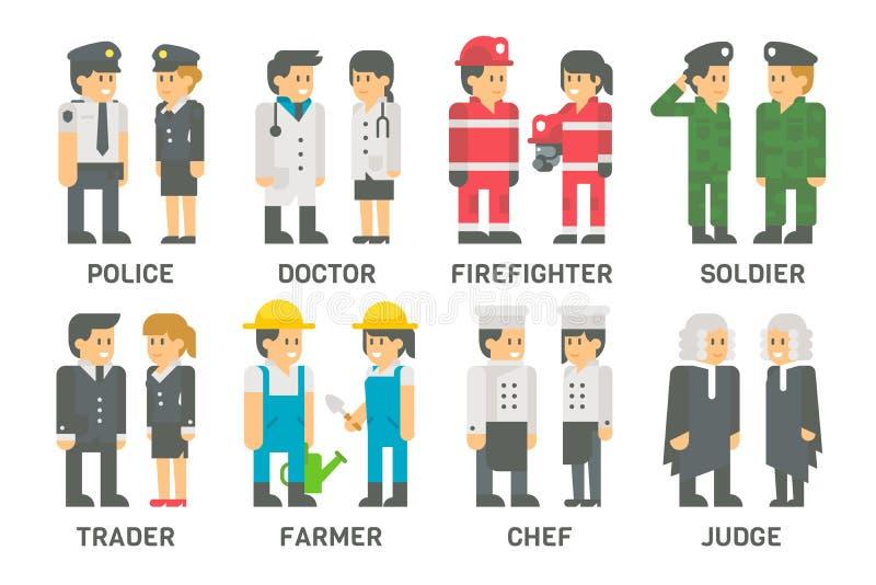 Personnes plates de conception avec des professions réglées illustration stock
