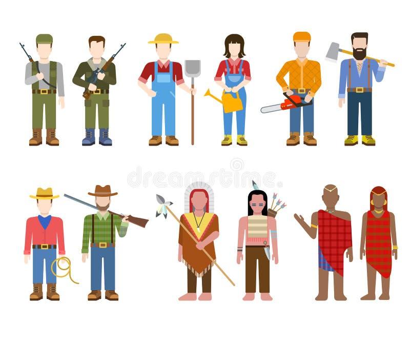 Personnes plates de nation : militaires, agriculteur, plouc, cowboy, indien illustration stock