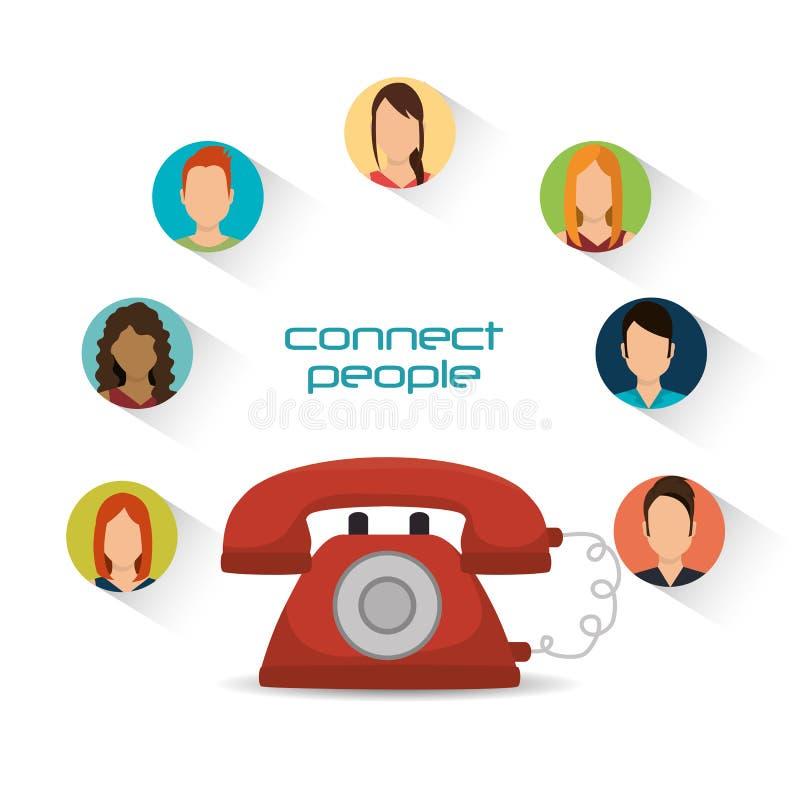 Personnes reliées par communication de téléphone illustration de vecteur