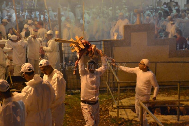 Personnes samaritaines au sacrifice traditionnel de pâque dans le bâti Gerizim près de la ville de banque occidentale de l'agneau images stock