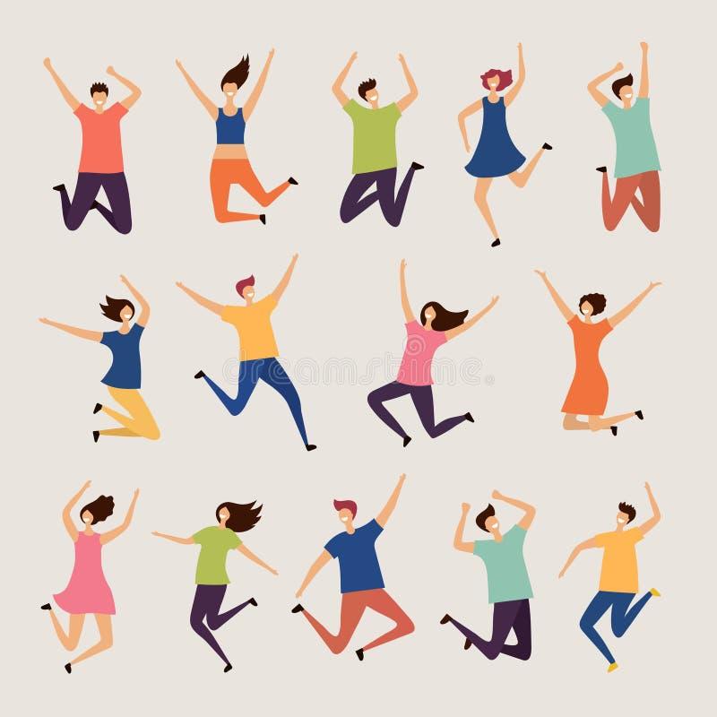 Personnes sautantes Les jeunes et adultes caractères heureux riants de groupe dirigent les illustrations plates illustration de vecteur