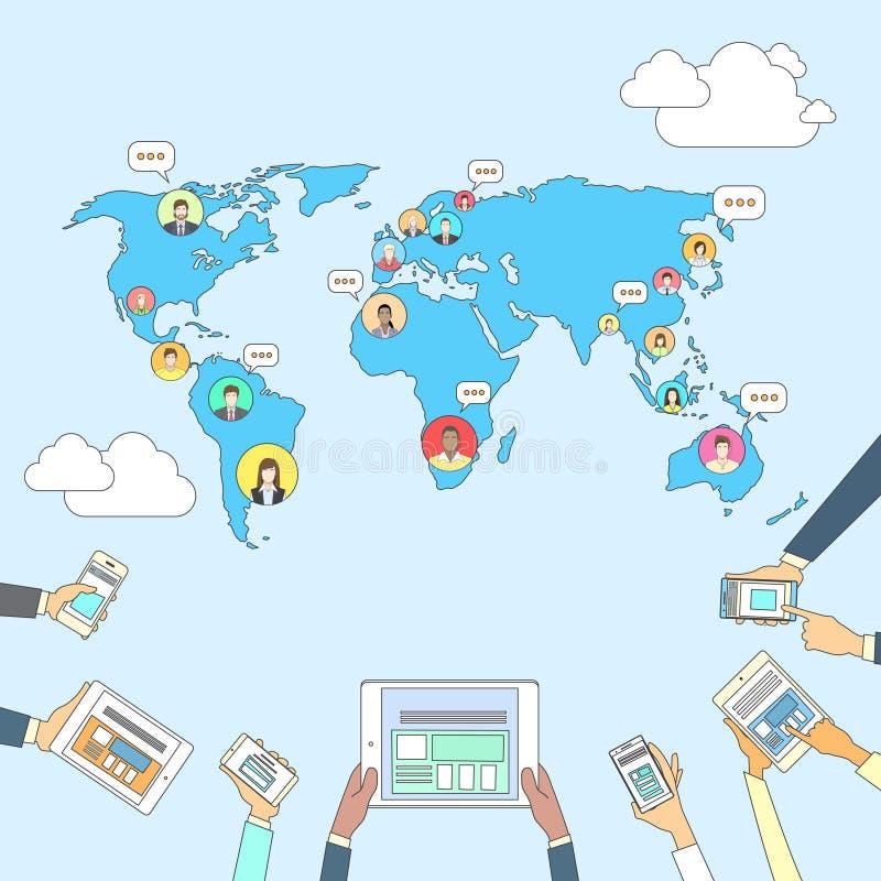 Personnes sociales de connexion de réseau Internet de concept de carte du monde de Media Communication illustration de vecteur