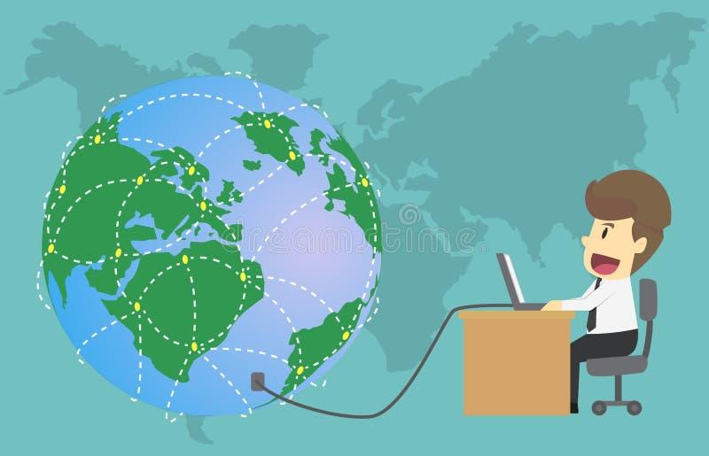 Personnes sociales de mise en réseau d'homme d'affaires avec le globe et l'ordinateur Véhicule illustration libre de droits