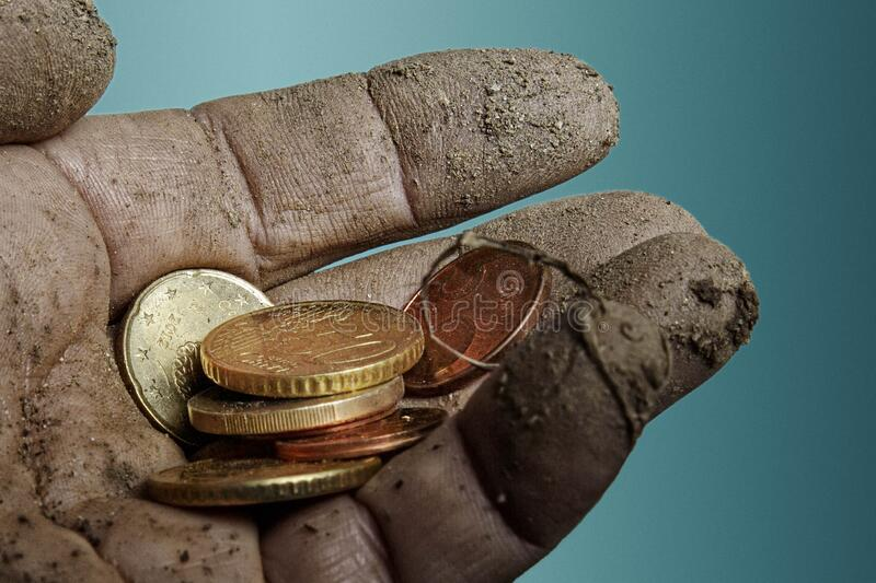 Dirty money palm royalty free stock photography
