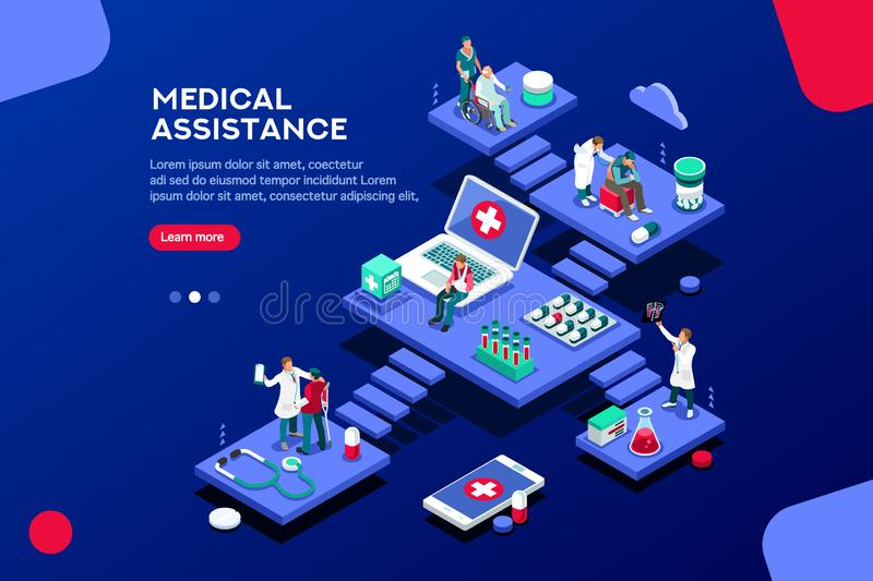 Assistance Health Care Concept Isometric Vector. Persons at office, medical assistance. Patient room with healthcare insurer. Clinic insure a doctor. Insurance vector illustration