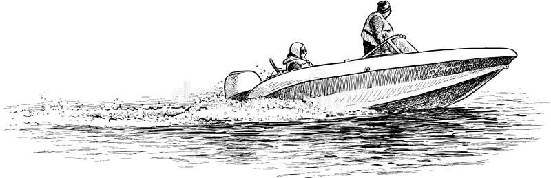 Persons in a pleasure boat stock illustration