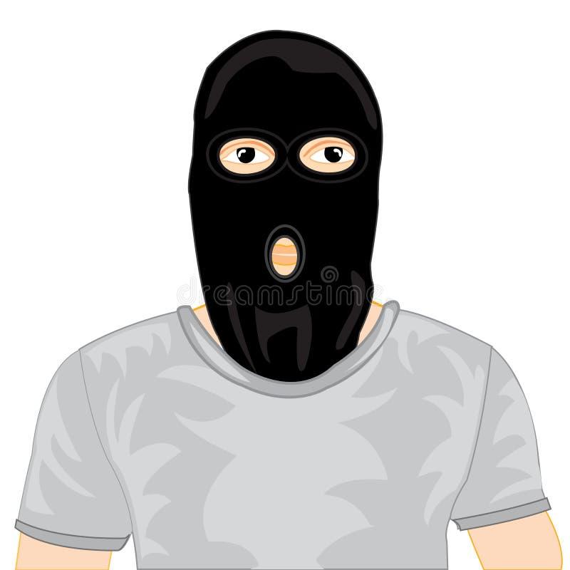 Persons w czerni masce royalty ilustracja