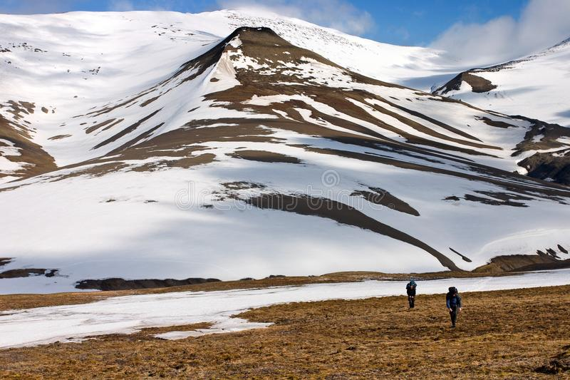 Persons Walking Tundra in Svalbard. Persons Walking Through Tundra in the Svalbard Archipelago in the Arctic. Cold and Wet Weather Reigns There Even in the royalty free stock images