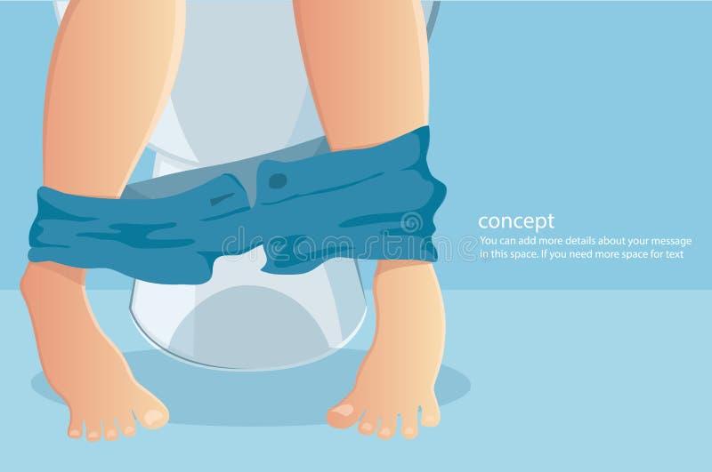 Personsammanträde på toalett med lidande från vållad förstoppning eller diarrévektorillustration royaltyfri illustrationer