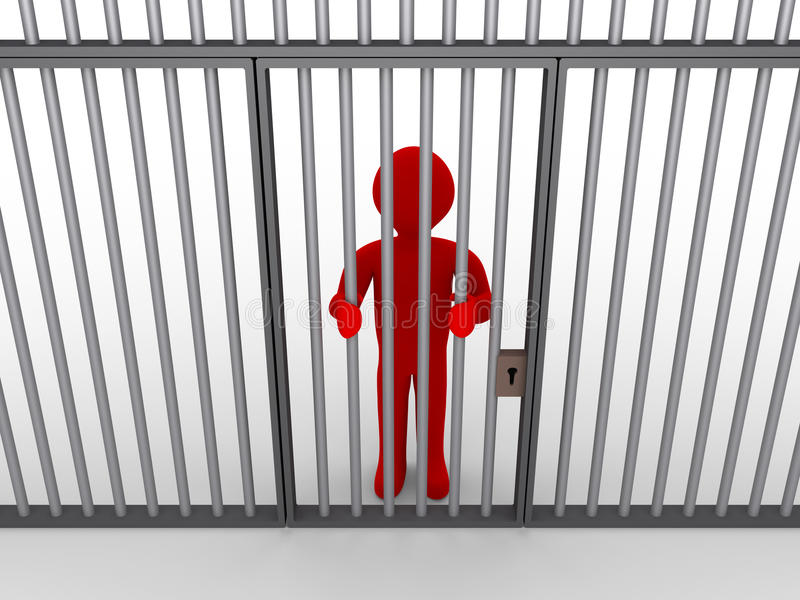 Persoon achter de tralies als gevangene royalty-vrije illustratie