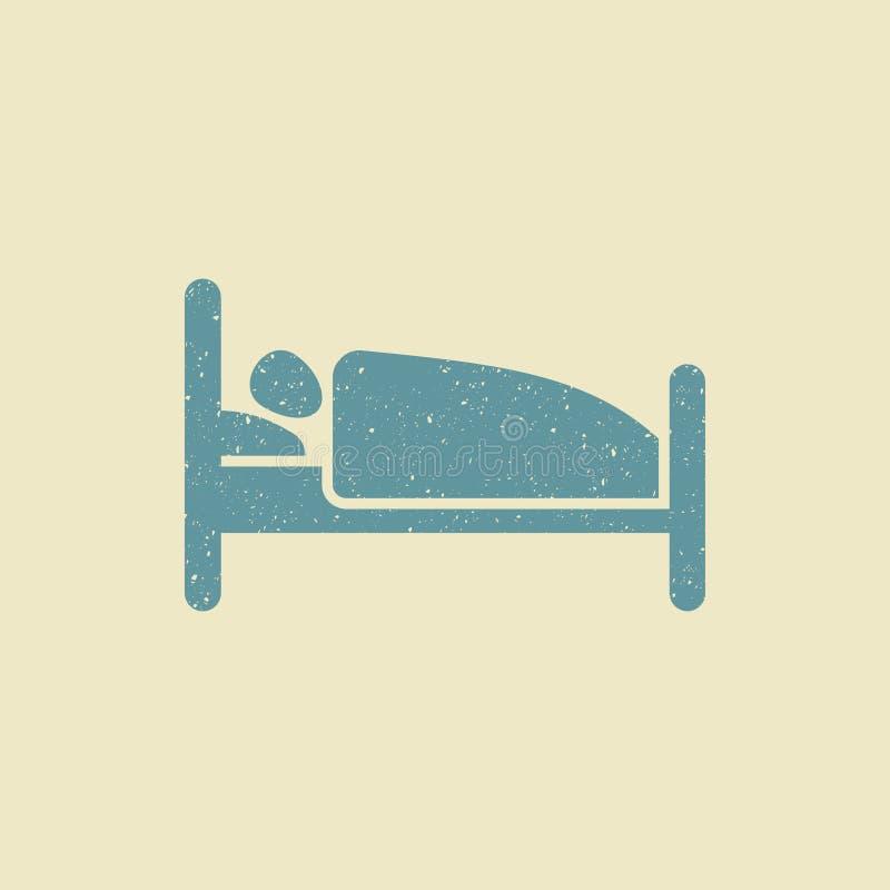 Persoon in bed Hotel vlak pictogram in grungestijl vector illustratie
