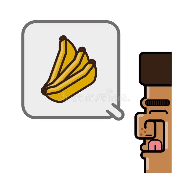 Persoon die in bananen denken stock illustratie