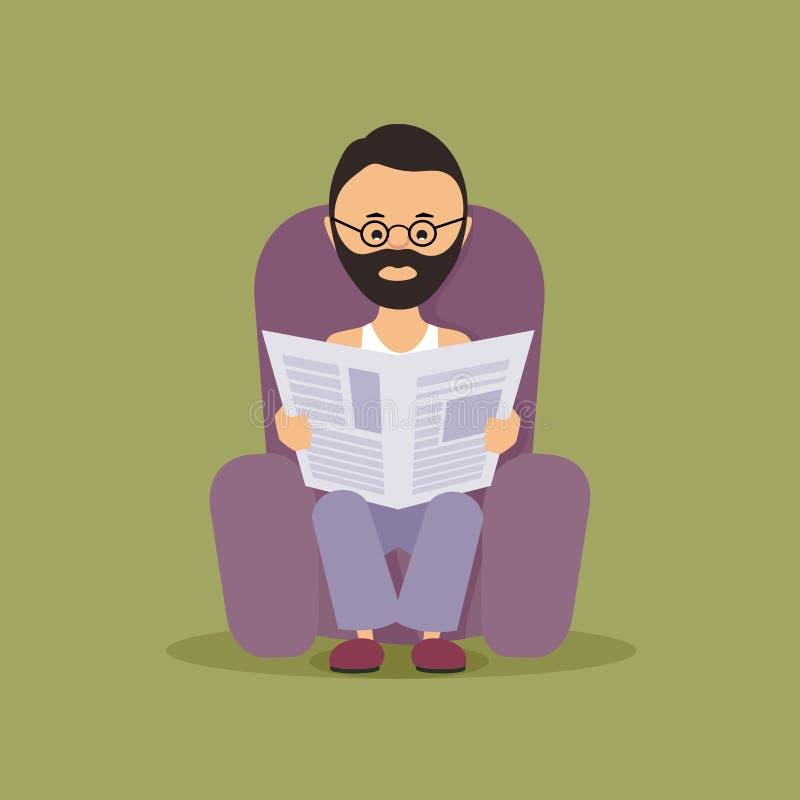 Persoon die de krant lezen stock illustratie