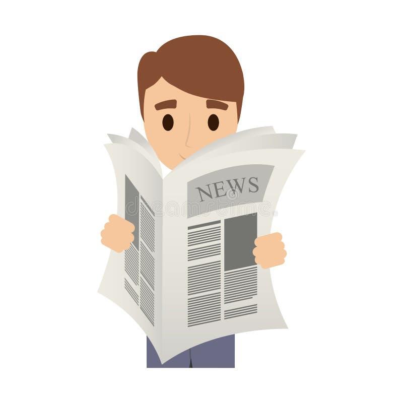 Persoon die de krant lezen vector illustratie