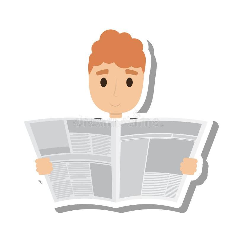 Persoon die de krant lezen royalty-vrije illustratie