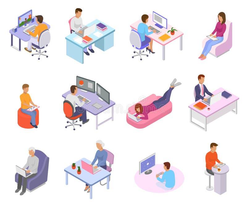 Persoon die de plaats de vector van het van het bedrijfs mensenwerk arbeiderskarakter aan laptop computer bij de lijst in bureaui stock illustratie