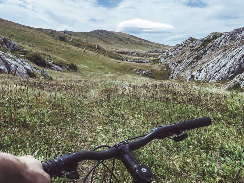 Persoon die fiets bestuurt Groen Grass Field en Hill overziet royalty-vrije stock afbeelding