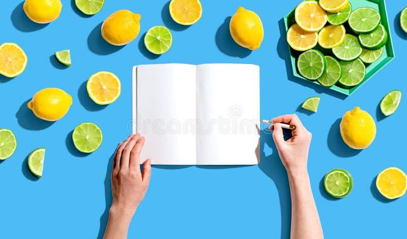 Persoon die in laptop met citroenen en ledematen schrijft royalty-vrije stock fotografie