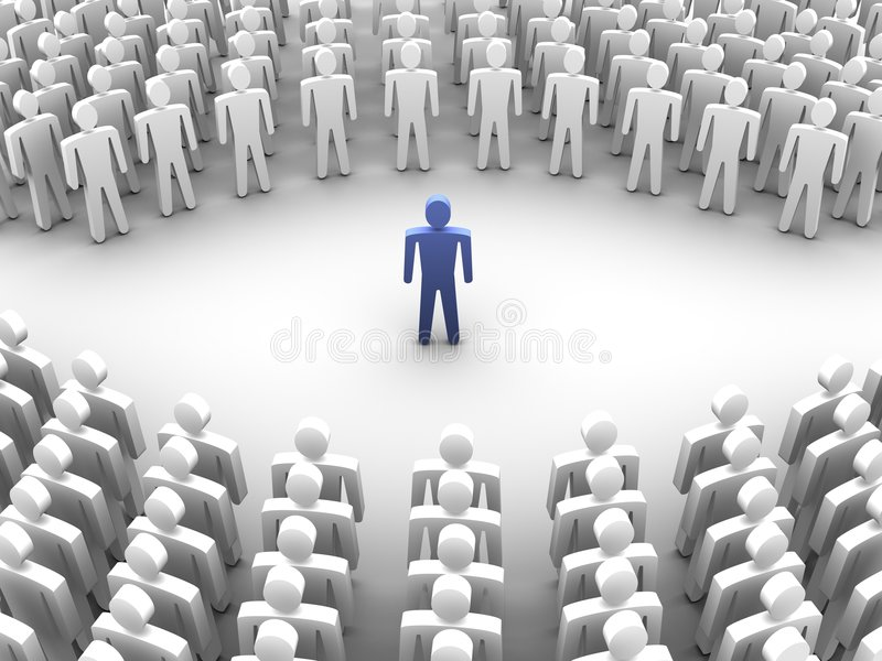 Persoon die met menigte wordt omringd stock illustratie