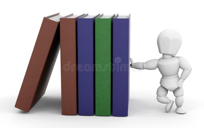 Persoon die op boeken leunt vector illustratie