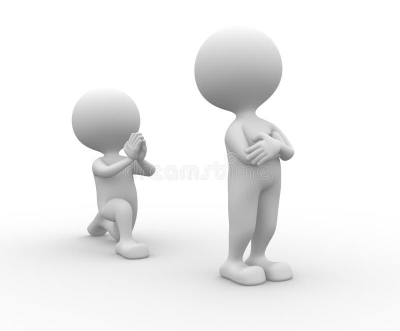 Persoon die op zijn knieën om vergiffenis vragen vector illustratie