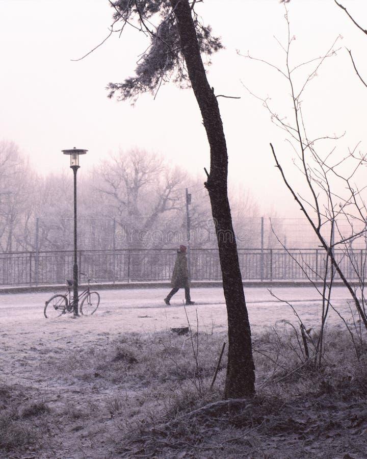 Persoon die in sneeuw, stedelijk de winterlandschap lopen royalty-vrije stock afbeelding