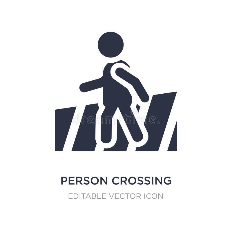 persoon die straat op zebrapadpictogram kruisen op witte achtergrond Eenvoudige elementenillustratie van Mensenconcept stock illustratie