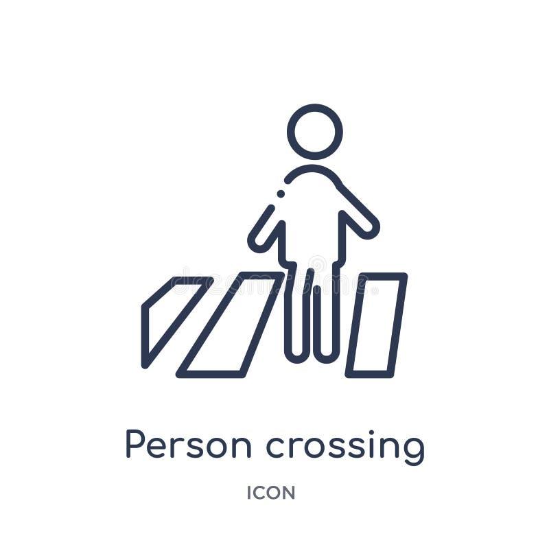 persoon die straat op zebrapadpictogram kruist van de inzameling van het mensenoverzicht Dunne lijnpersoon die straat op zebrapad stock illustratie