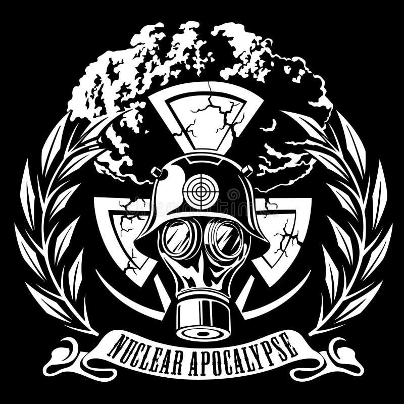 Persoon in een gasmasker atoomexplosie stock illustratie