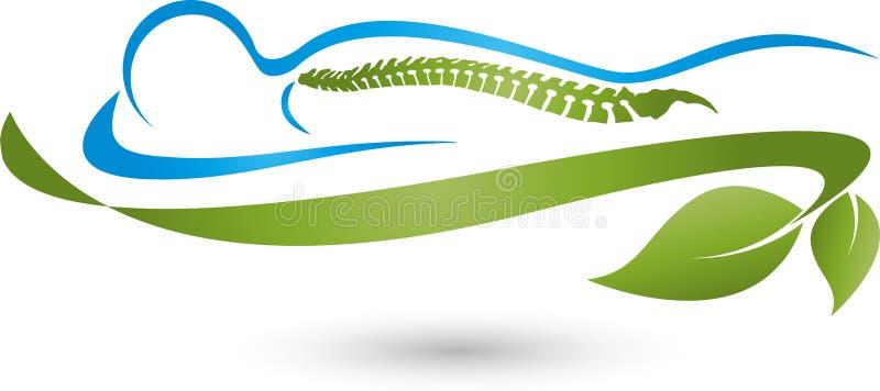 Persoon en bladeren, installatie, massage en orthopedisch embleem stock illustratie