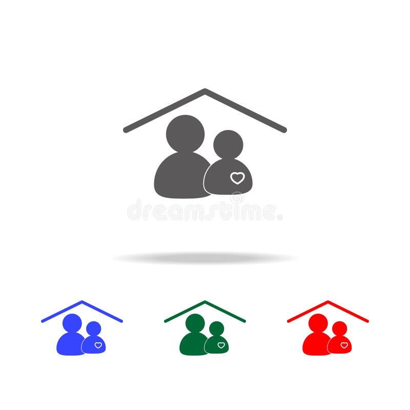 Persoon en hartpictogrammen thuis pictogram Elementen van familie multi gekleurde pictogrammen Grafisch het ontwerppictogram van  stock illustratie