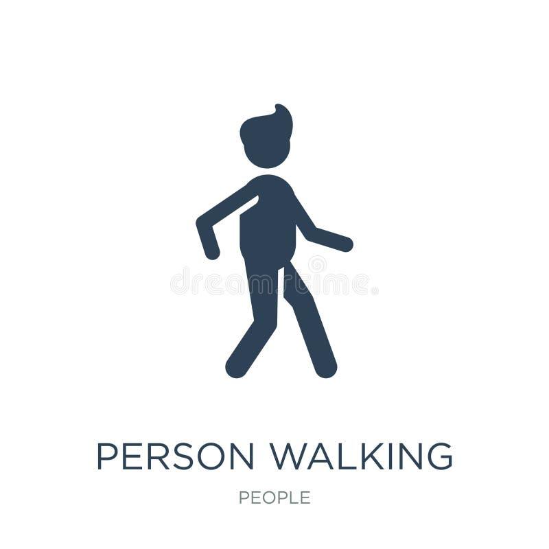 persoon het lopen pictogram in in ontwerpstijl persoon het lopen pictogram op witte achtergrond wordt geïsoleerd die persoon die  stock illustratie