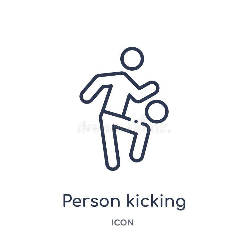 persoon het schoppen bal met het kniepictogram van de inzameling van het sportenoverzicht Dunne lijnpersoon het schoppen bal met  royalty-vrije illustratie