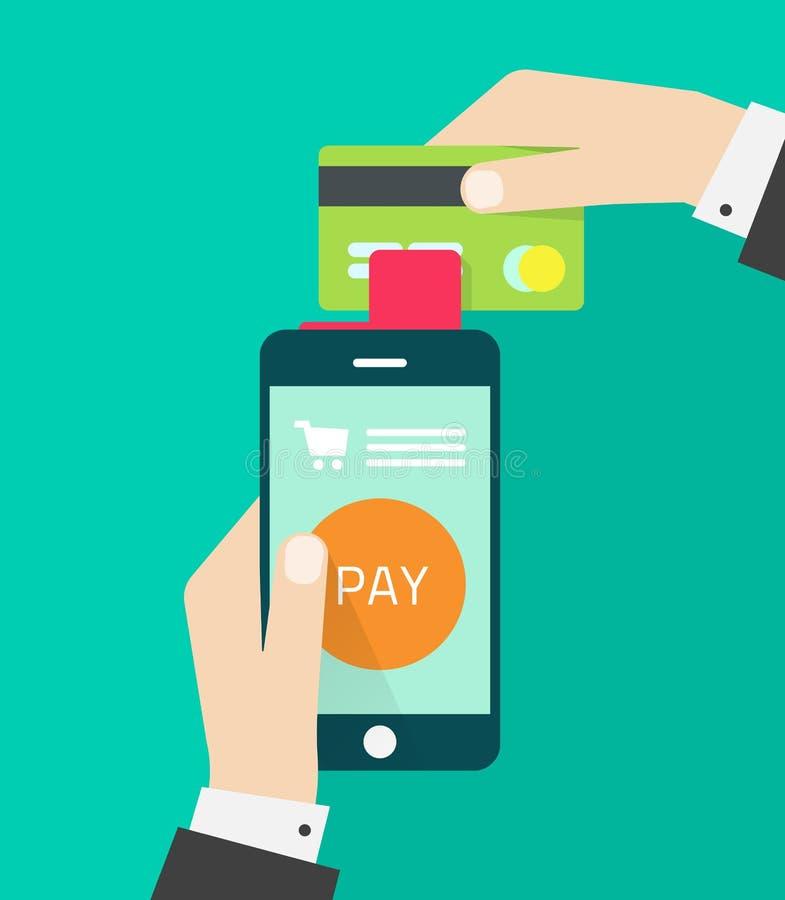 Persoon met de mobiele betaling van de de verwerkingscreditcard van het telefoonapparaat royalty-vrije illustratie