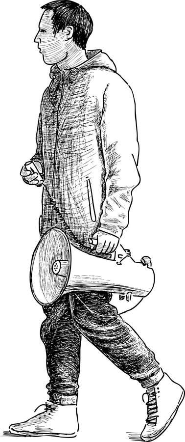 Download Persoon met een megafoon vector illustratie. Illustratie bestaande uit mannetje - 54087459