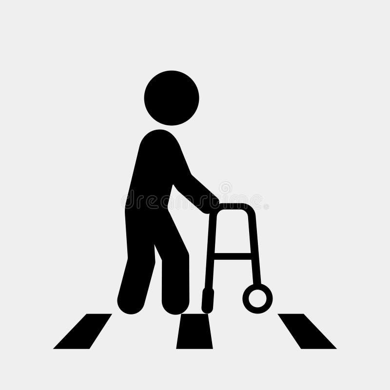 Persoon met handicap Voetgangersoversteekplaatsteken, voetzebrapadteken Vector royalty-vrije illustratie