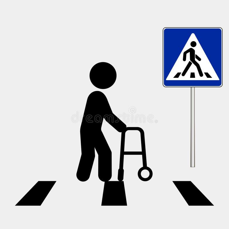 Persoon met handicap Voetgangersoversteekplaatsteken, voetzebrapadteken Vector illustratie stock illustratie