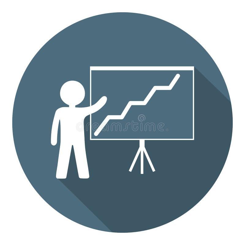 Persoon met het Kweken van Grafiekpictogram Bedrijfspresentatie, Statistisch Analyseren, Rapport Bedrijfs concept Programma en Me stock illustratie