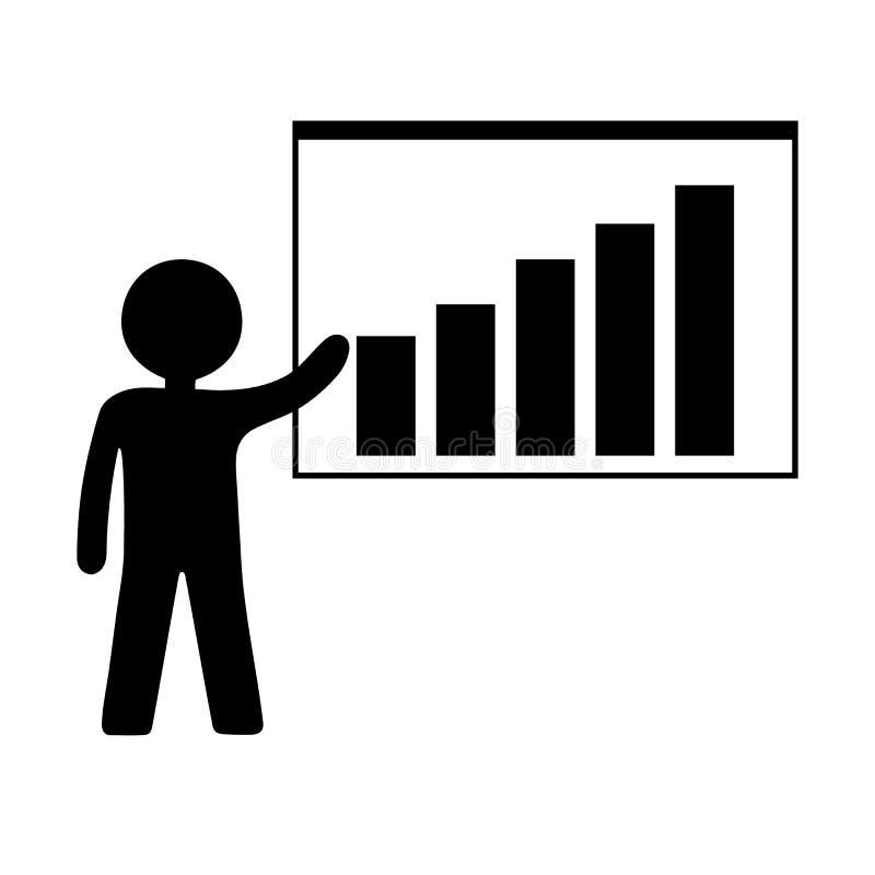 Persoon met het Kweken van Grafiekpictogram Bedrijfspresentatie, Statistisch Analyseren, Rapport Vector illustratie voor ontwerp vector illustratie